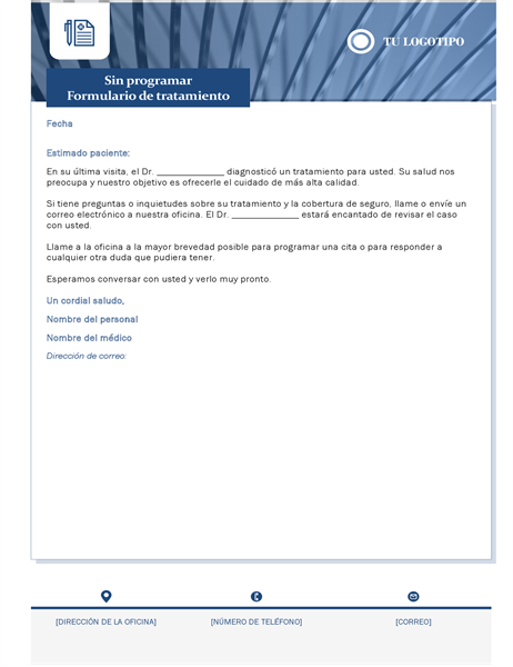 Carta de tratamiento médico no programado