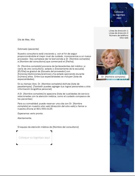 Carta de presentación de proveedor de atención médica