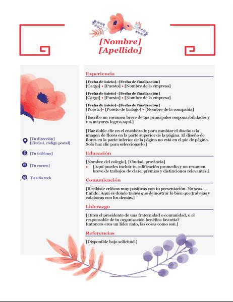 Currículum vítae floral rosa