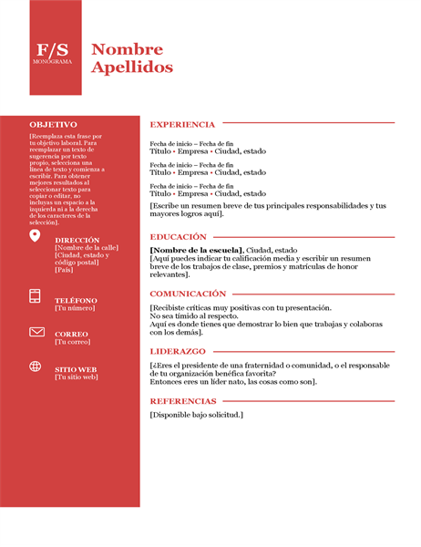 Currículum con logotipo en negrita