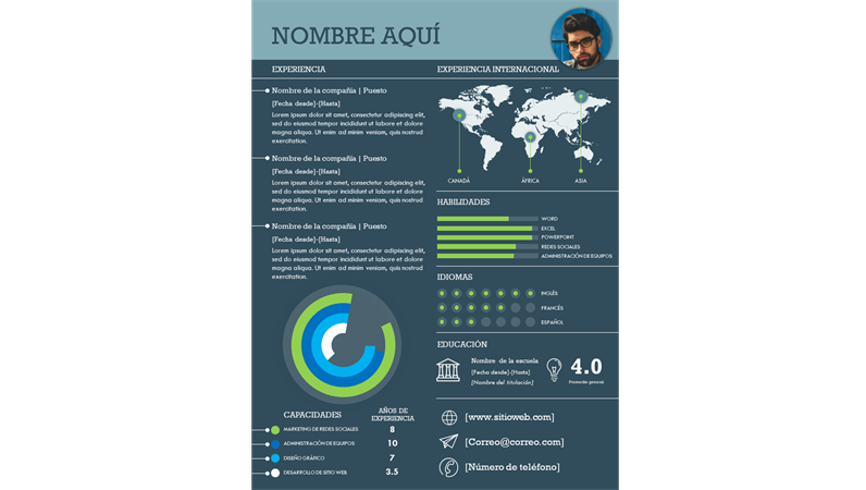 Currículum infográfico internacional
