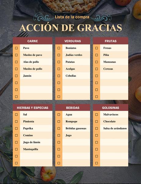 Lista de la compra para Acción de gracias