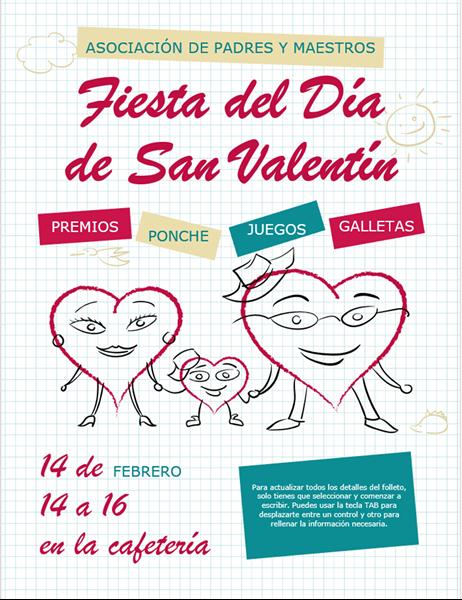 Prospecto con dibujos animados de corazones de San Valentín