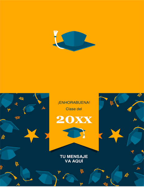 Tarjeta de graduación con sombreros al aire