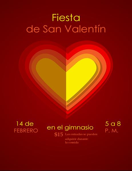Folleto de San Valentín con corazones dentro de corazones