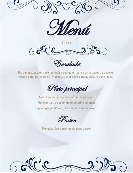 Menú de fiesta de cena elegante