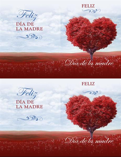Tarjeta del día de la madre del árbol de corazones