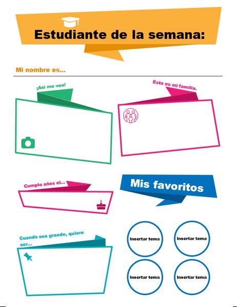 Cartel para estudiante de la semana