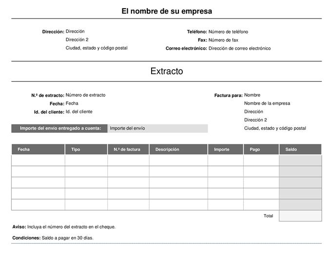 Extracto de facturación (simple)