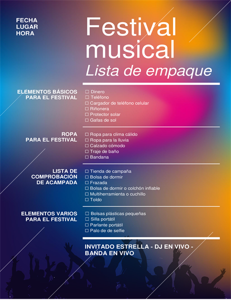 Lista de comprobación de embalaje de festival musical