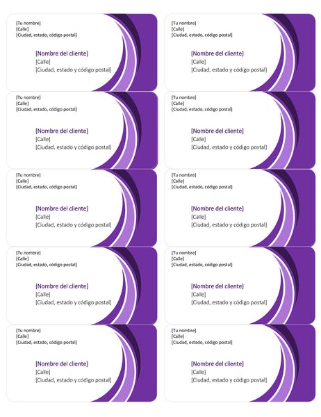 Etiquetas de envío moradas (10 por página)
