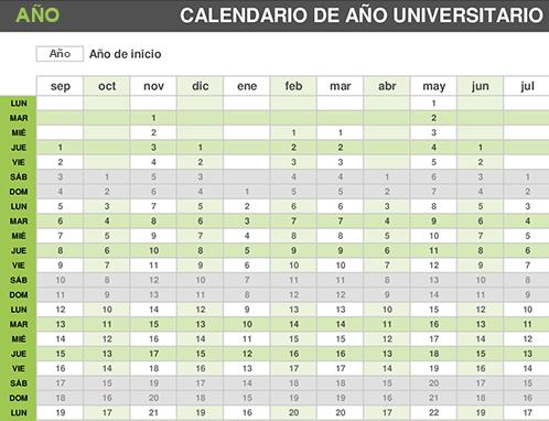 Calendario del año universitario