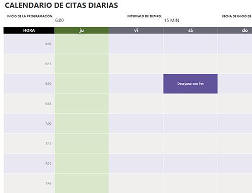 Calendario Con Excel.Calendario De Citas Diarias