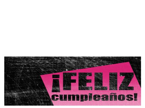 Tarjeta de felicitación de cumpleaños con fondo rayado (rosa y negra, plegada)