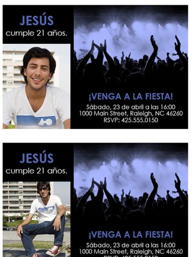 Invitaciones a fiestas (azul en negro)