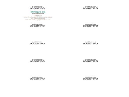 Tarjetas de presentación, diseño horizontal con logotipo (10 por página)