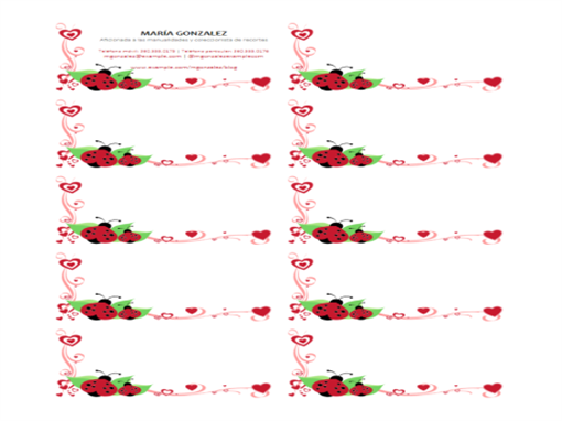 Tarjetas de presentación (mariquitas y corazones, centradas, 10 por página)