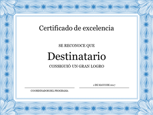 Certificado de excelencia (borde azul formal)