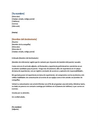 Carta de presentación de currículum vítae (a juego con el currículum funcional)
