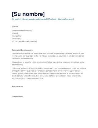Carta de presentación simple