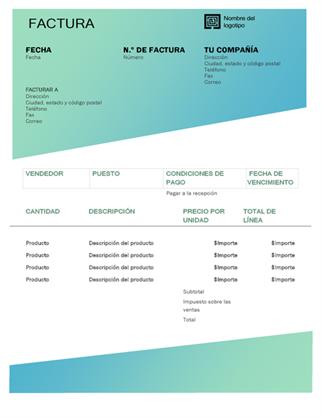Factura de servicio (diseño de degradado verde)