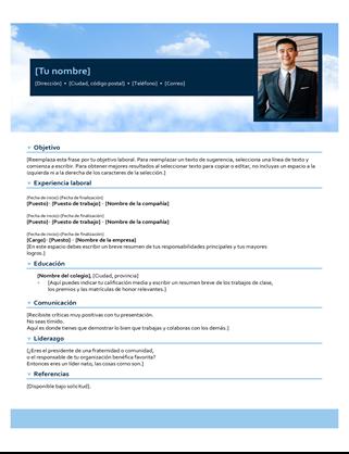 Currículum vítae de cielo azul
