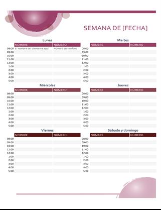 Calendario de citas del conjunto rosa