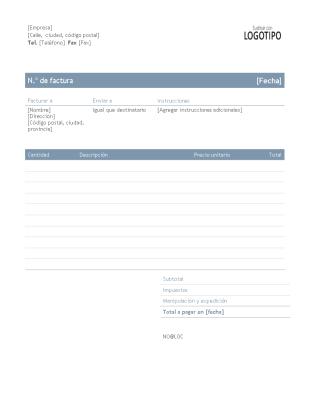 Factura empresarial (diseño atemporal)