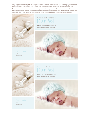 Anuncio de nacimiento de niño