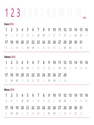 Calendario trimestral de 2014