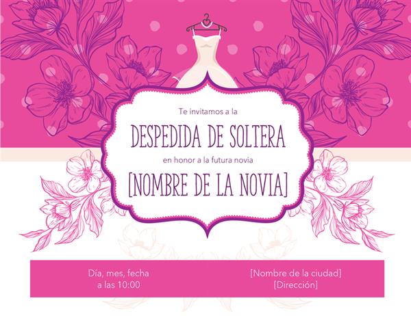 Invitación con diseño floral a una despedida de soltera