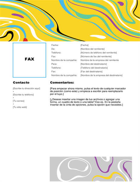 Portada de fax colorida con remolinos