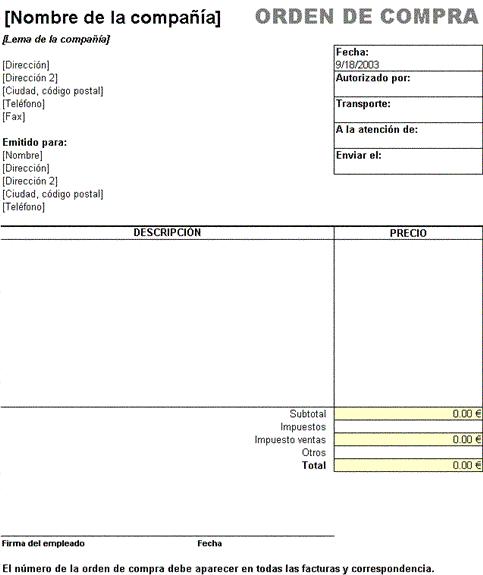 Orden compra con impuesto de ventas 1