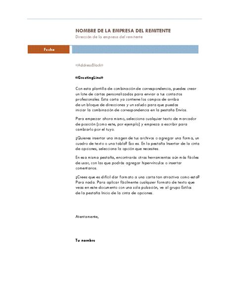Carta de combinación de correspondencia (tema Mediana)