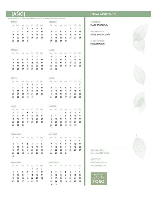 Calendario para pequeños negocios (cualquier año, de lunes a domingo)