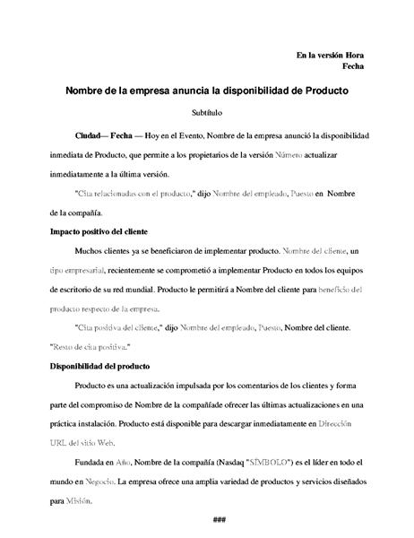 Notas de prensa con el anuncio del producto