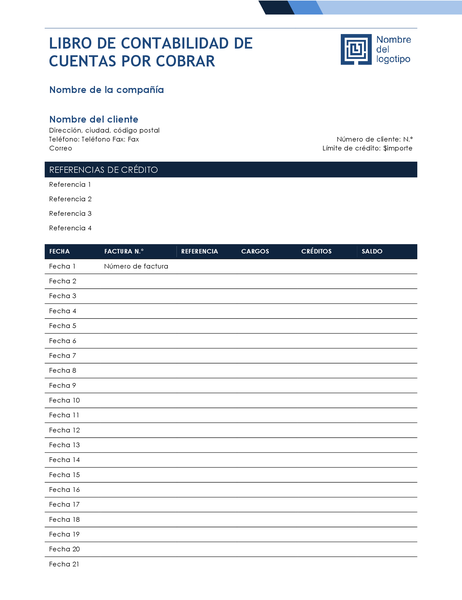 Libro de contabilidad de cuentas por cobrar (diseño azul degradado)