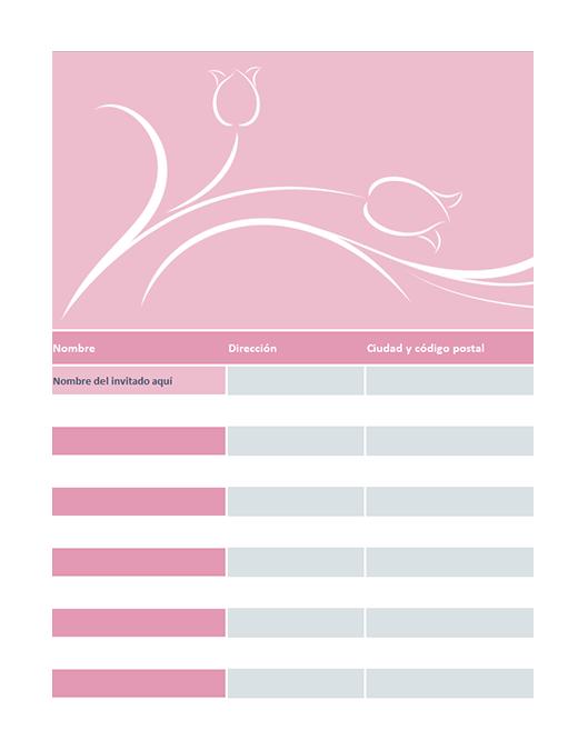 Lista de invitados de boda (con tulipanes)
