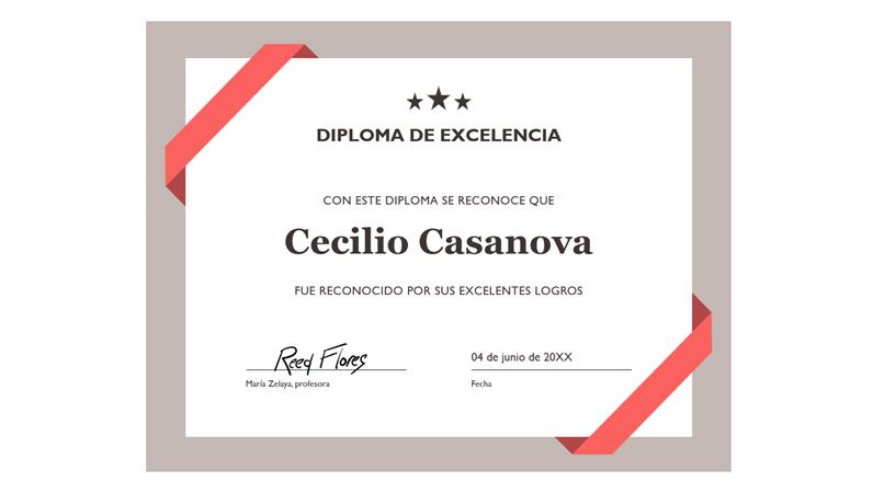 Certificado de excelencia (borde azul oficial)