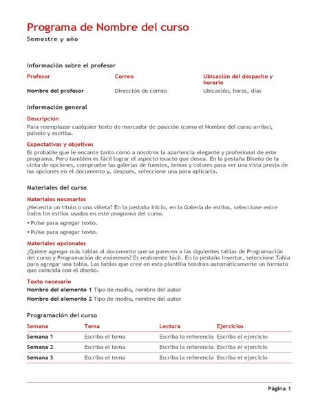 Programa del curso del profesor (color)