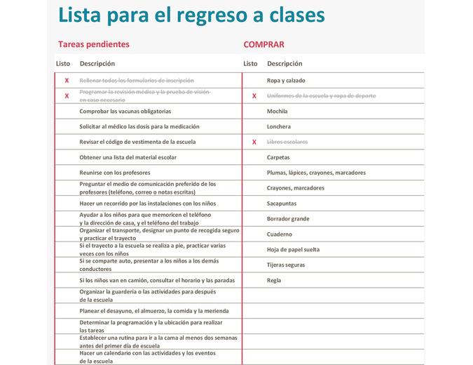 Lista de comprobación para el regreso a clases