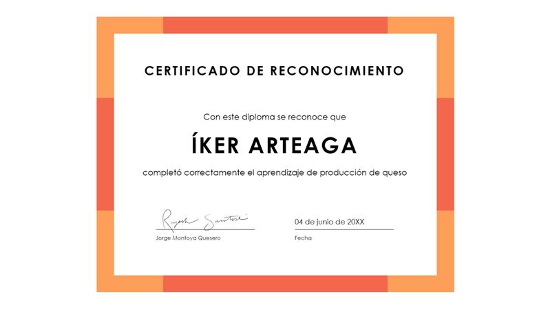 Certificado de reconocimiento (azul)
