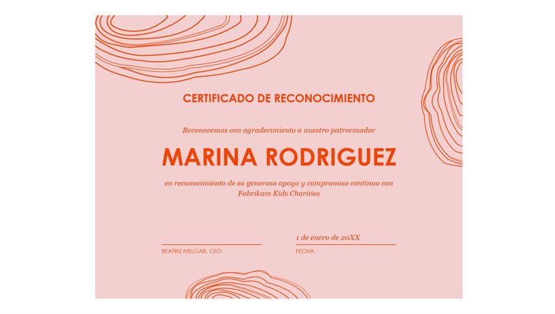 Certificado de apreciación para el patrocinador