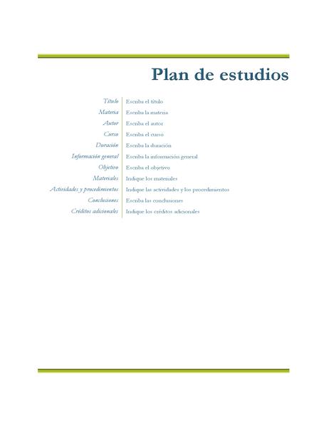Plan de estudios del profesor