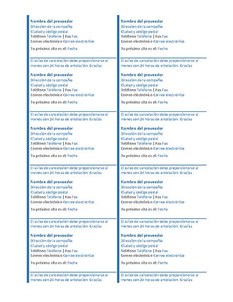 Tarjetas de cita (10 por página)