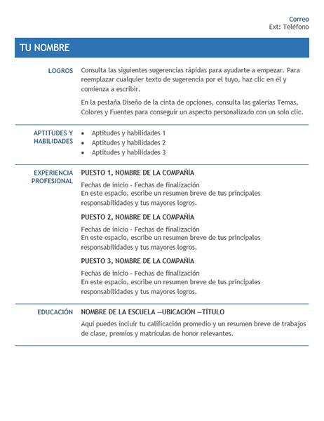 CV para traslado interno en la compañía