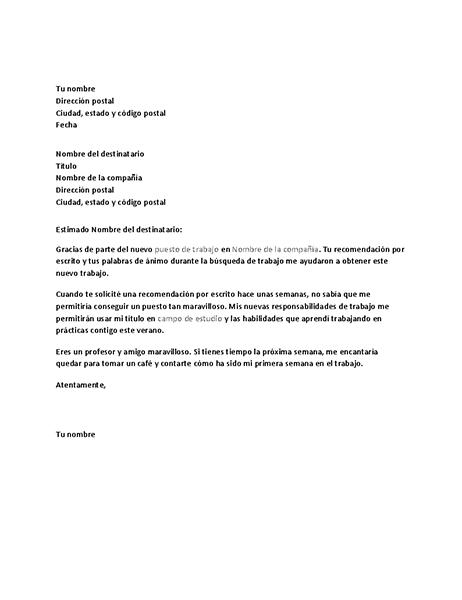 Carta de agradecimiento por una referencia de trabajo satisfactoria de un antiguo jefe