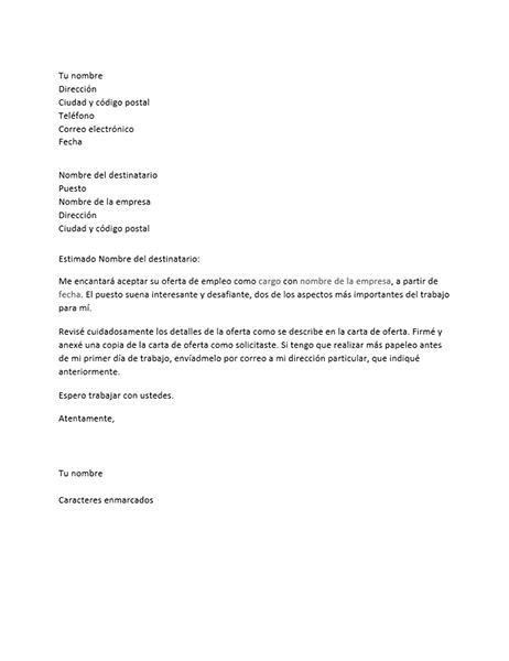 Carta de aceptación de oferta de trabajo