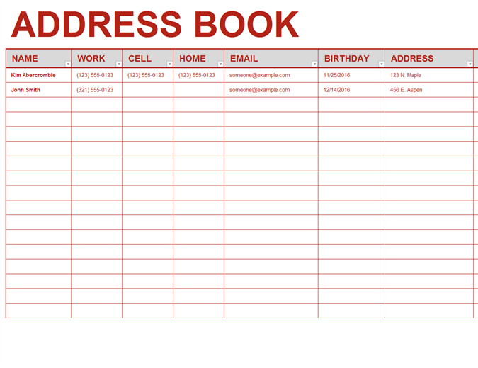 Registros for Telephone address book template