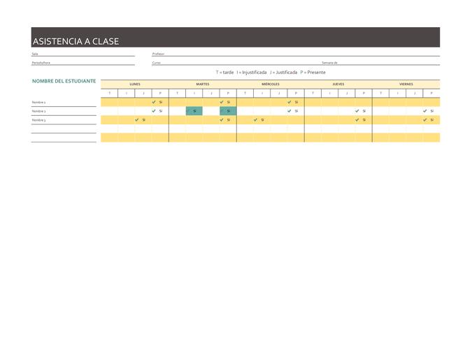 Registro de asistencia de clase semanal